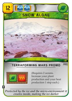Terraforming Mars: Snow Algae Promo Card board game