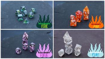 Dragon's Breath dice by Dakota Irish board game