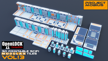 3D Printable SciFi OpenLOCK Compatible Tiles for Gaming Vol3 board game