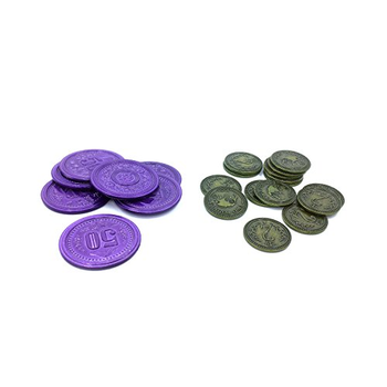 Scythe: Metal Coins - $2 Green and $50 Purple