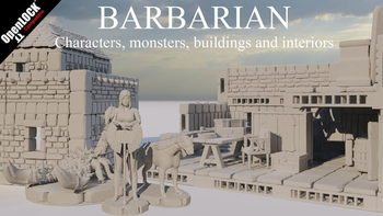 Barbarian - Characters, monsters, buildings and interiors board game
