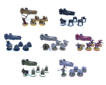 Set of Painted Miniatures for Scythe - 42 miniatures! (7 factions, including airships!)