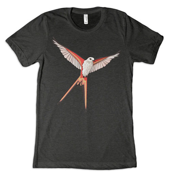 Wingspan: T-shirt - Scissor-Tailed Flycatcher, Charcoal / Black board game