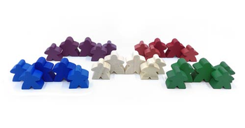 25-Piece Farmer Families - 2 MegaMeeples & 3 Regular Meeples of each color (Compatible with Agricola)