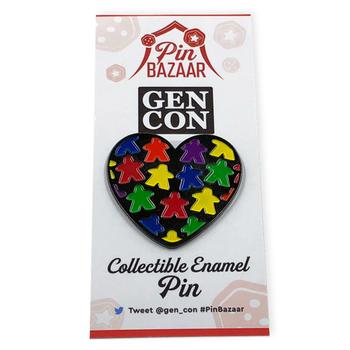 Meeple Love Lapel Pin: GenCon Pin Bazaar 2018 board game