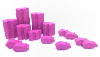Dwarven Farmer Pink Pig Set (30 pcs) - Perfect for Caverna!
