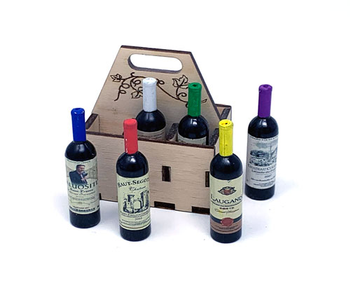 Viticulture: Mini Wine Bottles in a Wooden Crate