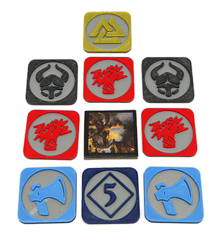 Blood Rage: 3D Printed Multicolor Pillage Tokens (9-piece Set)