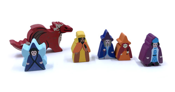 6-Piece Set of Custom Shaped Character Meeples (Compatible with Carcassonne Expansions)