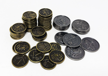 Set of Metal Coins for Roll Player (60 pcs) - (Thunderworks Games)