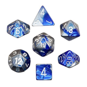 Polyhedral Dice (Set of 7): Chessex Gemini Blue Steel with White board game