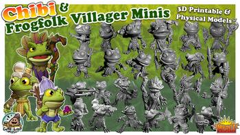Frog Folk Villagers - 3D Printable & Physical Model + CHIBI board game