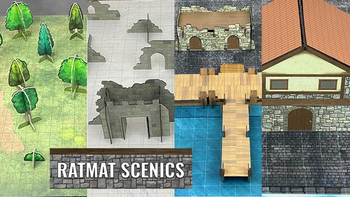 RatMat Scenics: Forest, Ruins, Wharf, and Warehouse Packs board game