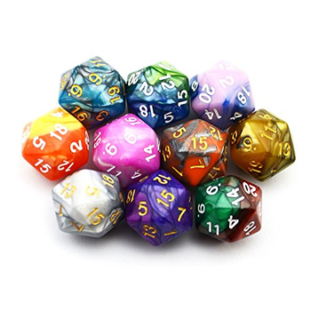 Polyhedral Dice: 10-Pack of Two-Color D20 board game