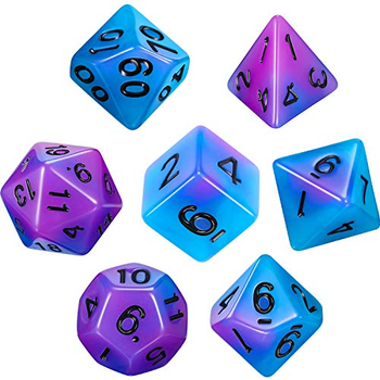 Polyhedral Dice (Set of 7): Luminous Purple Blue board game