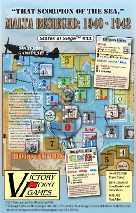 Malta Besieged: 1940 - 1942 - States of Siege (TM) #11 - Solitaire Board Game .