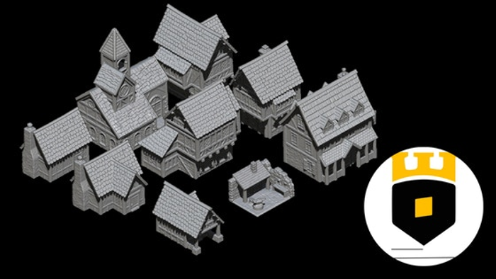 3Dlayeredscenery, medieval township - tabletop edition