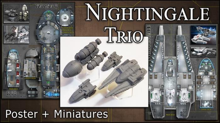 Nightingale Trio: Starship Miniatures & Maps