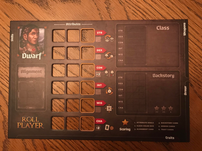 Roll Player Dwarf character sheet