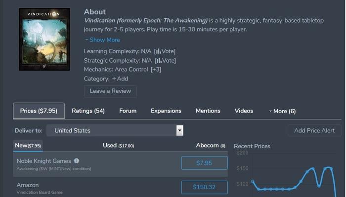 Game price logic for Vindication error image